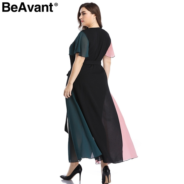 BeAvant Elegant v neck plus size dress women Black butterfly sleeve summer female maxi dress Casual party club ladies dresses 5