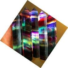 5 шт. Природный кристалл Цвет флюорит одной точке шесть край краеугольным камнем энергии исцеления хороший фэн-шуй украшения