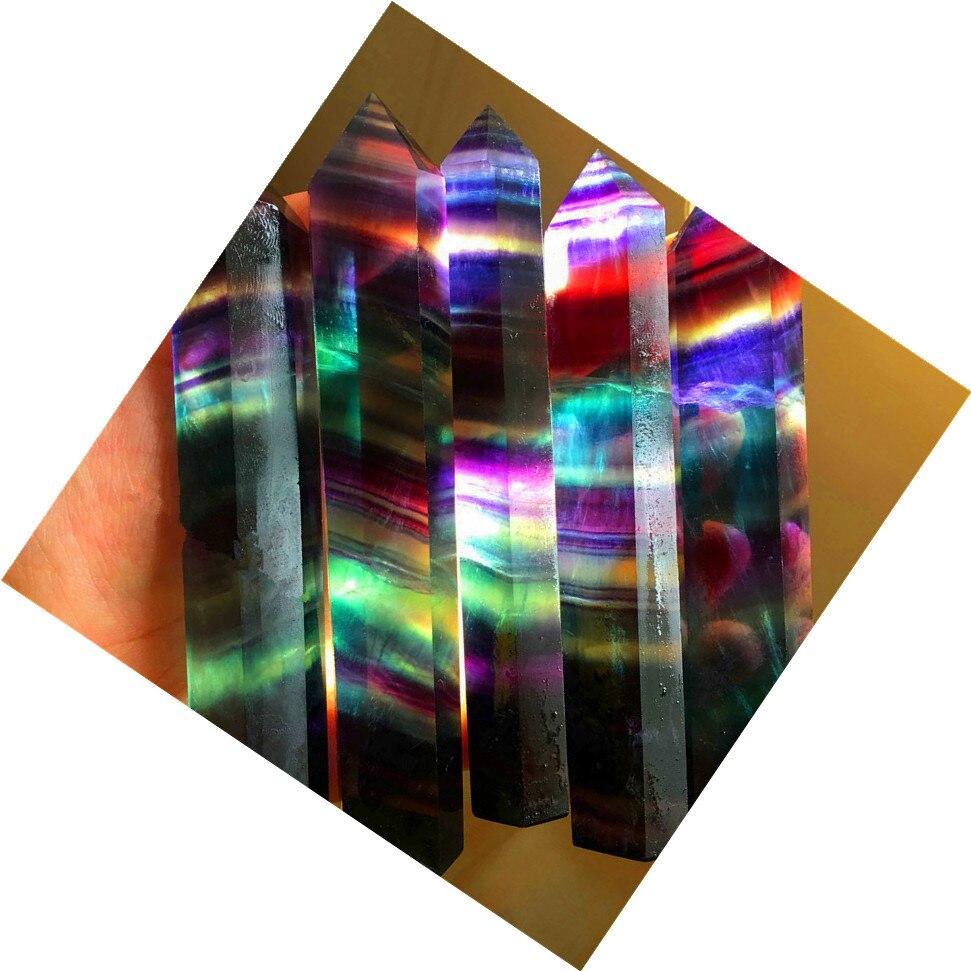 5pcs Natural crystal color fluorite single point six edge Pillar Stone energy healing good feng shui ornaments