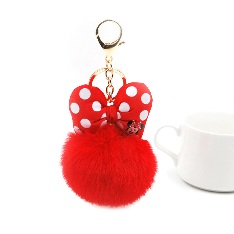 2019 Fluffy Rabbit Fur Ball Mickey Keychain For Women Pompom Bunny Fur Bowknot Key Ring Bag Car Key Holder Jewelry Wedding Gift image