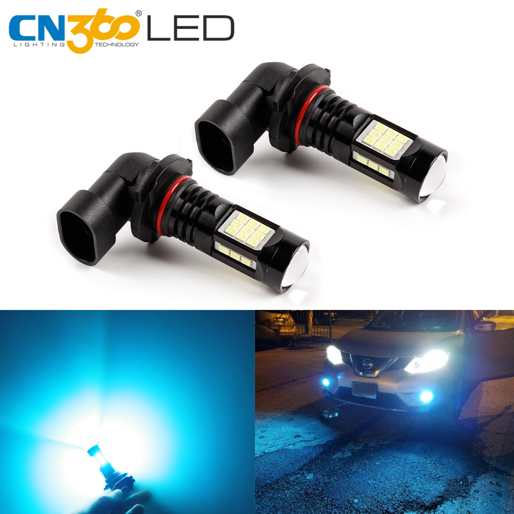 CN360 2PCS H11 LED 9005 HB3 9006 HB4 Led 12V Auto 2835 27SMD Fog Lights Super Bright DRL Daytime Running Car lamp with ICE Blue hireno super bright led daytime running light for great wall haval hover h6 car led drl fog lamp 2pcs