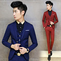 Spring 2015 new men's fashion suit suit wedding suit influx of men Slim (Jacket + pants + vest)