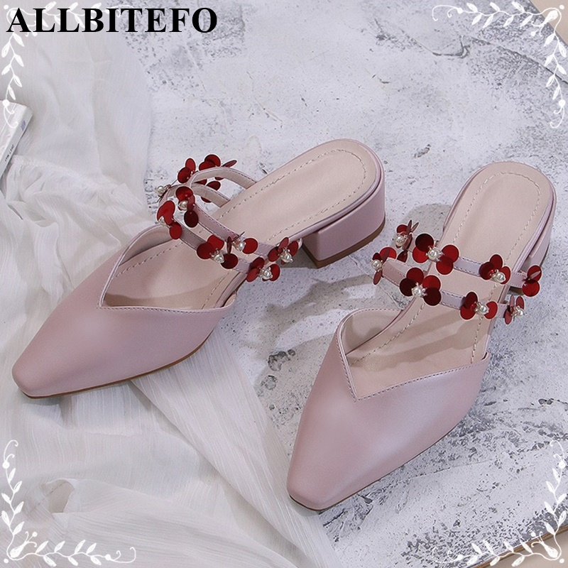 ALLBITEFO genuine Leather shoes fashion women summer sandals girls shoes med square heels flowers comfortable casual