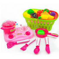 New Kitchen Toys Fruit and Vegetable Set Hand Basket Acoustooptic Plate, Simulation Vegetable Kitchen Children Toy Gift
