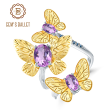 GEMS BALLET 925 Sterling Silver Handmade Gemstones Ring Fine Jewelry 2.04Ct Natural Amethyst Adjustable Open Rings for Women