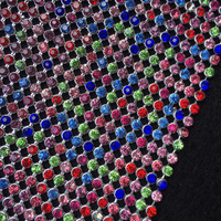 ZY Chunky Glitter Rainbow Color Rhinestones Silver Metal Mesh Fabric Metallic Cloth Metal Sequin Sequined Fabric