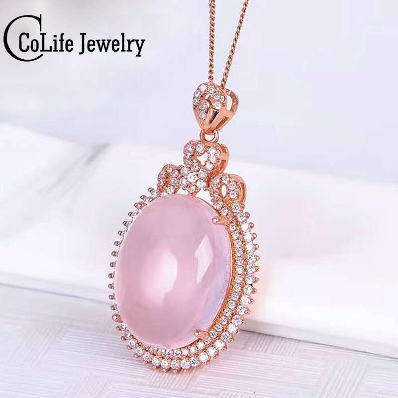 Dazzling rose quartz necklace pendant 15*20mm natural rose quartz silver pendant romantic solid 925 silver rose quartz jewelry romantic rose embellished silky long scarf
