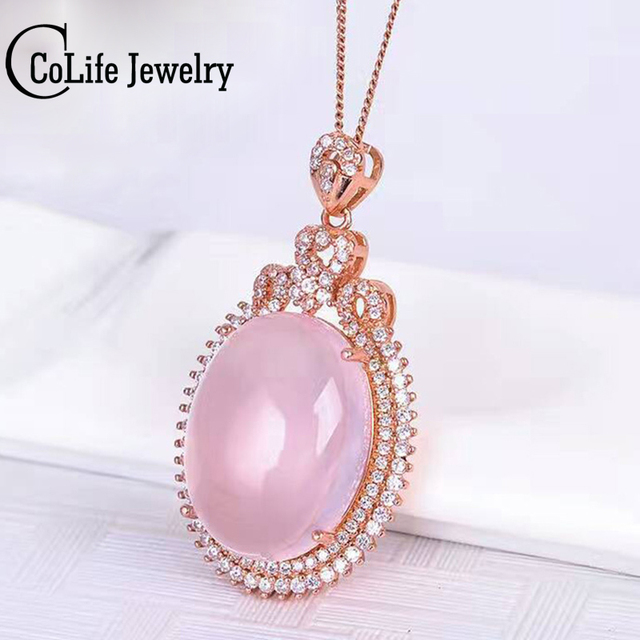 Dazzling rose quartz necklace pendant 1520mm natural rose quartz dazzling rose quartz necklace pendant 1520mm natural rose quartz silver pendant romantic solid 925 mozeypictures Image collections