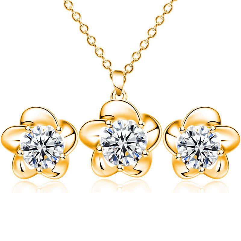 Hot Trendy panny młodej luksusowe cyrkon srebrny kwiat kolczyki/naszyjnik dla kobiet ślub wykwintne elegancki mały zestaw biżuterii