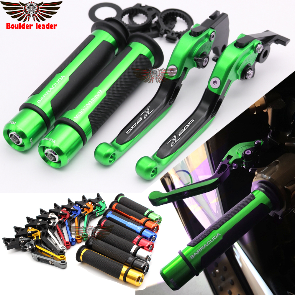 Motorcycle Adjustable Folding Brake Clutch Levers Handlebar Hand Grips For kawasaki Z800/E version 2013 2014 2015 2016 Green