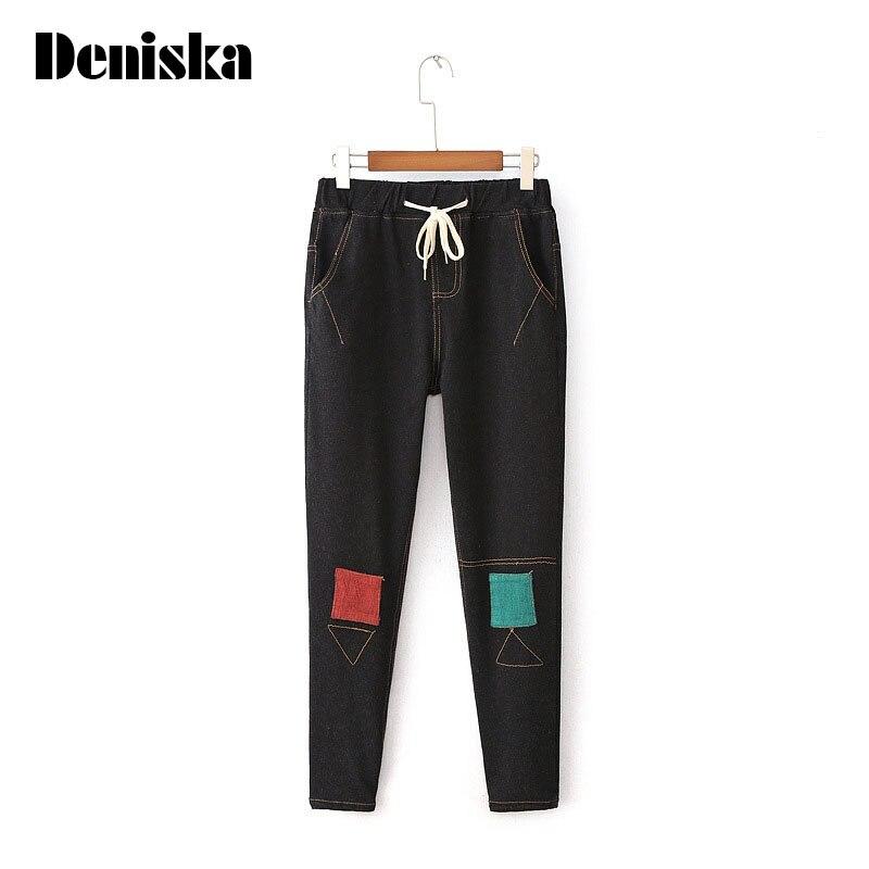 Women s winter warm denim jeans Female skinny elastic denim pencil pants Plus large size drawstring