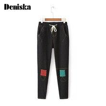 Женские зимние теплые джинсы Женские узкие эластичные джинсы карандаш брюки Плюс большой размер шнурок длинные брюки лоскутное