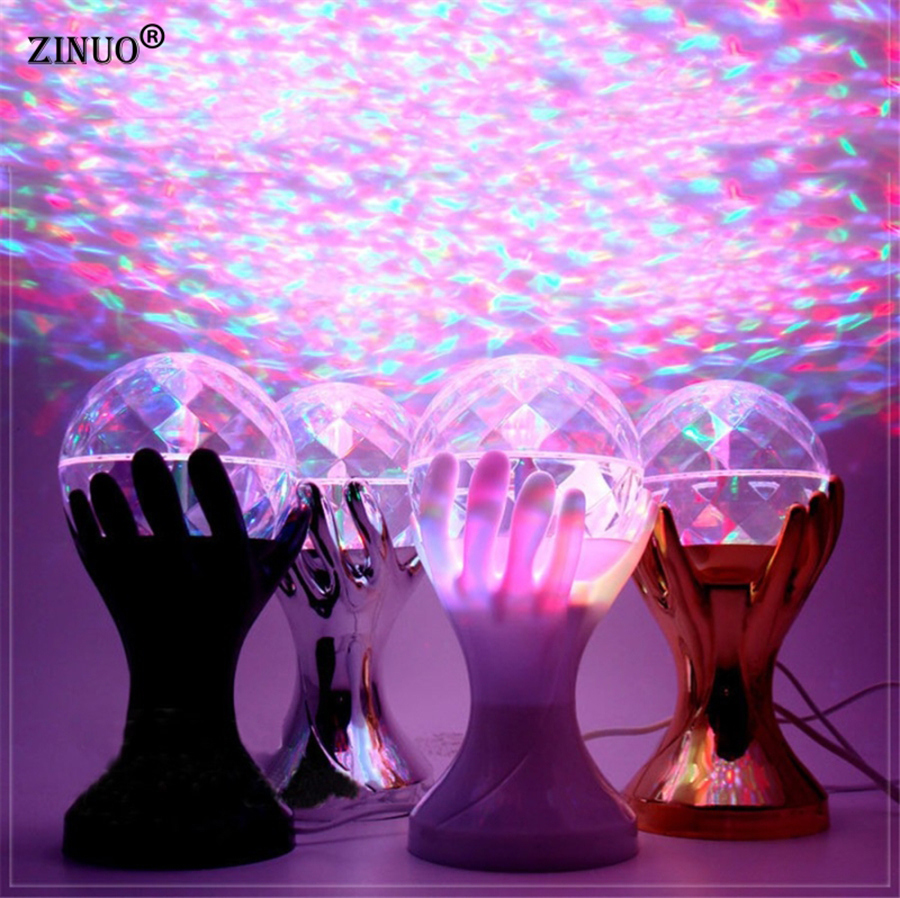 ZINUOb Auto Rotating RGB LED Stage Lamps Palm Crystal Magic Ball Stage Effect Lighting Lamp Party Disco DJ Light 110V 220V e27 3w led stage lamps auto rotating rgb projector crystal magic ball laser stage effect light party disco ball club dj lights