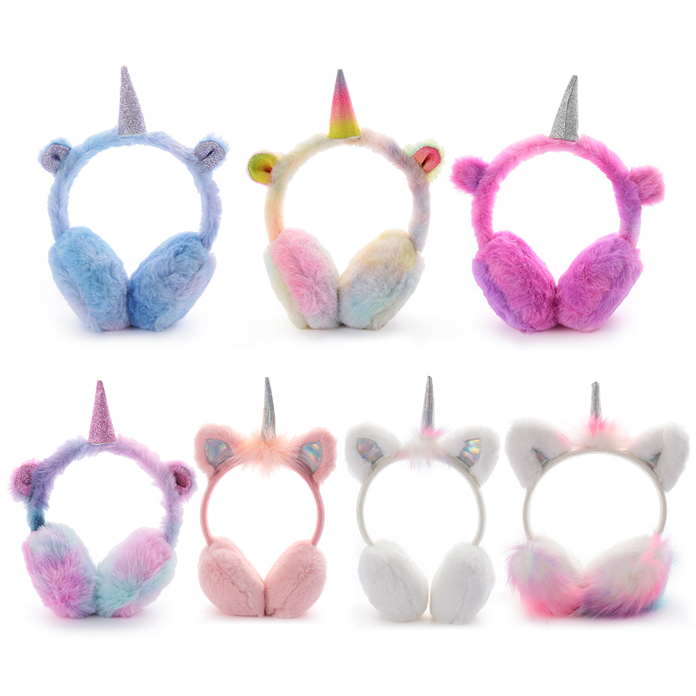 2019 New Fashion Winter Ear Muffs Kids Lovely Thicken Plush Unicorn Warmer Earmuffs Oreille New Ear Cover Oorwarmers Dames