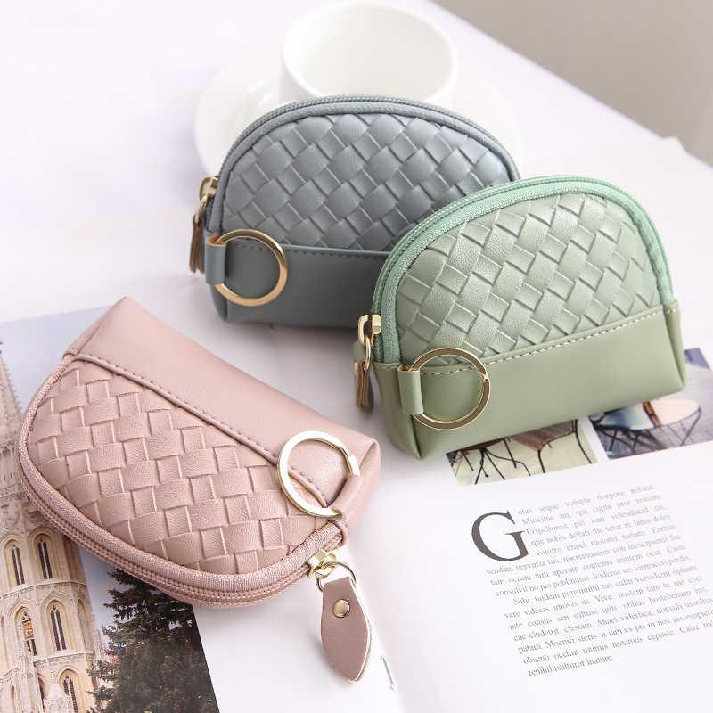 dd97db34ee09 ... APP BLOG Brand Knit Women Leather Small Mini Wallet Holder Zipper Coin  Purse Travel Mini Bag ...