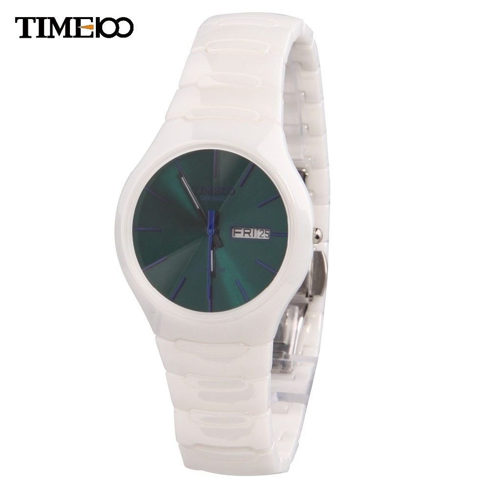 New Time100 Women's Sapphire Mirror Ultrathin Ceramic Strap Auto Date Ladies Quartz Dress Casual Wrist Watches Clock W50087M.06A new time a11