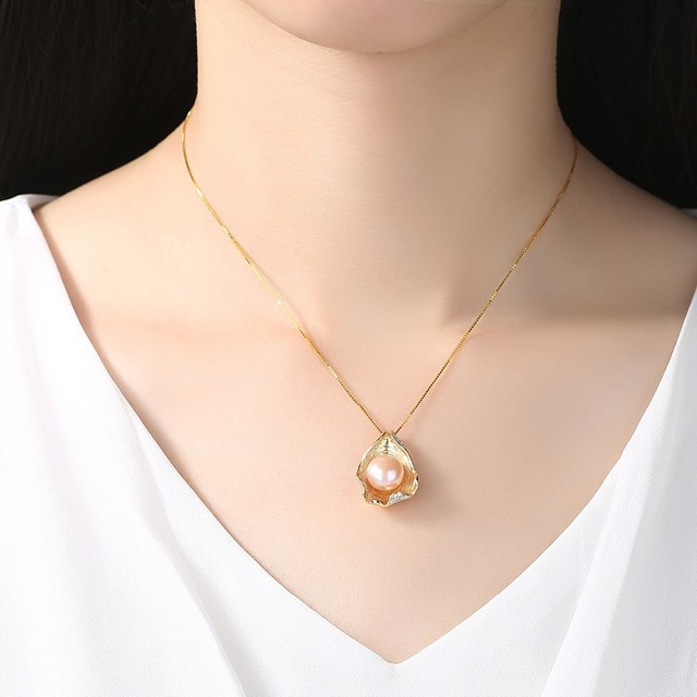 PAG&MAG Charm Shell Design Pearl Jewelry 925 Sterling Silver Jewelry Fashion Pearl Pendant Necklaces for Women 18k Gold Color