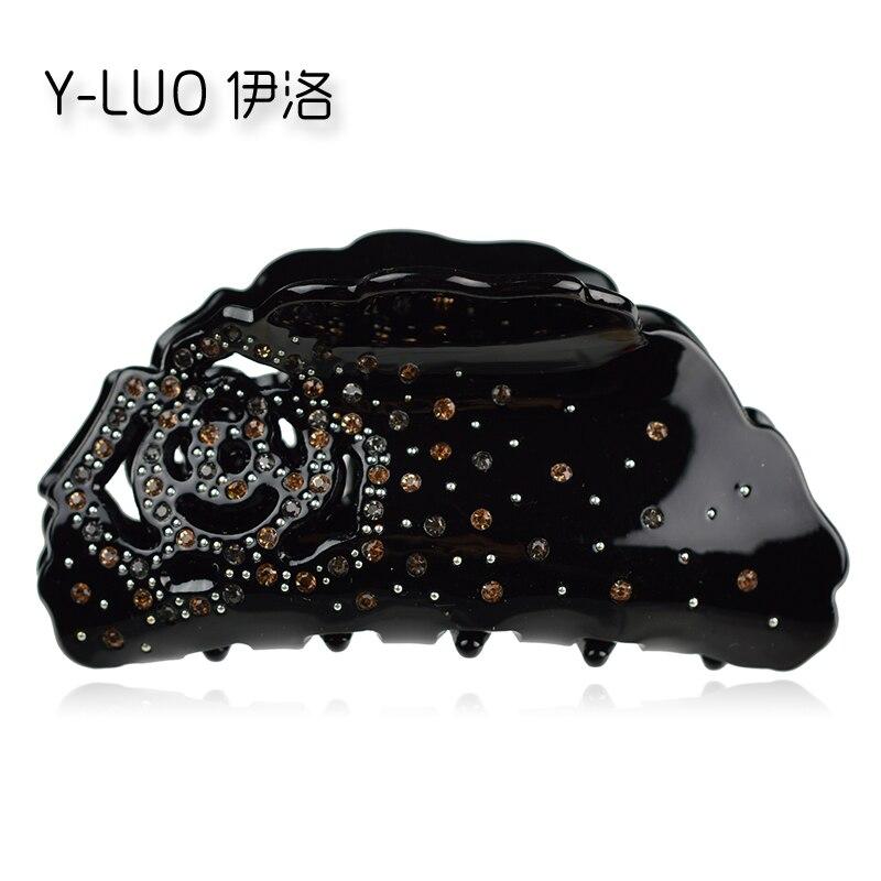 Headwear   women hair accessories new fashion rose flower hair claw rhinestone hair clips for girls
