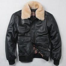 Fur collar genuine leather jacket