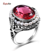 Szjinao Authentic 925 Sterling Silver Pearl Rings For Women Butterfly Carved Vintage Ruby Engagement Fashion Jewelry Bohemian