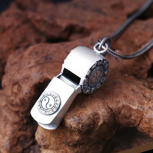 Pendentif sifflet symbole Fengshui Bagua argent 990 fait main pendentif sifflet zodiaque chinois argent pur pendentif chance argent