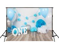 Праздничный первый 1st торт ко дню рождения буквы белый синий воздушный шар дерево фонов винил Ткань Компьютер печати партии Задний план