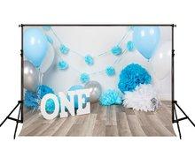 Festivo primeiro primeiro bolo de aniversário balão azul letras brancas de madeira backdrops Vinil pano Computer print Fundo do partido
