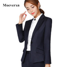 Elegant professional women blazer Autumn winter formal long sleeve single button black jacket office ladies plus size work coat