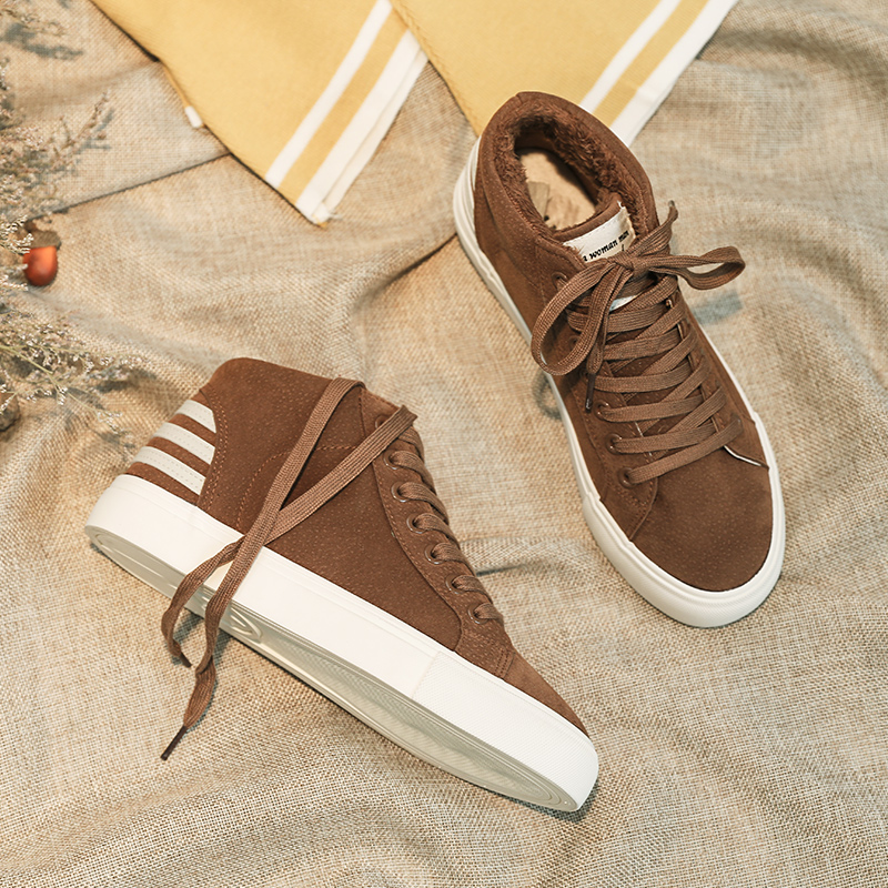 Frauen Schuhe Vulkanisierte Damenschuhe Intelligent Winter Outdoor Freizeit Warme Schuhe Gestreiften High-top Schuhe Baumwolle Schuhe Mode Nähen Outdoor Freizeit Schuhe