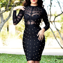 Long Sleeve Studded Bandage Dress Knee Length Sexy Club Mesh Bodycon Party Dresses
