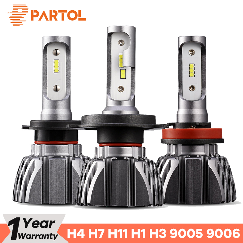 Partol Fan-Less H4 Car LED Headlight Bulbs 50W/Set 8000LM 9005 9006 H7 LED Automobile Headlamp LED H11 H1 H3 LED Lamp 6500K 12V nighteye 8000lm 50w set h3 headlight kit car led bulbs fog light lamp drl 6500k white 25w pc 12v plug