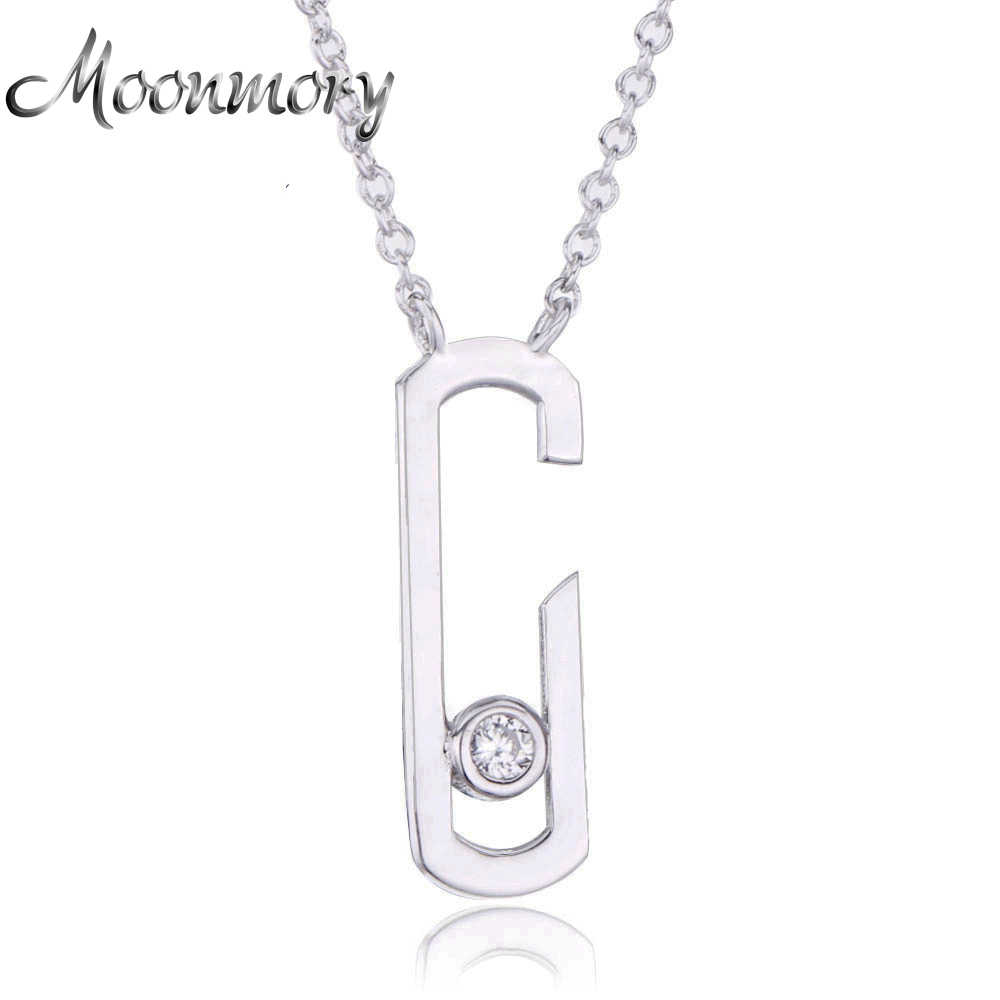 Moonmory  Gigi Hadid Collection 925 Sterling Silver Move  Addiction Pendant Necklace For Women Silver Stone Wedding Necklace