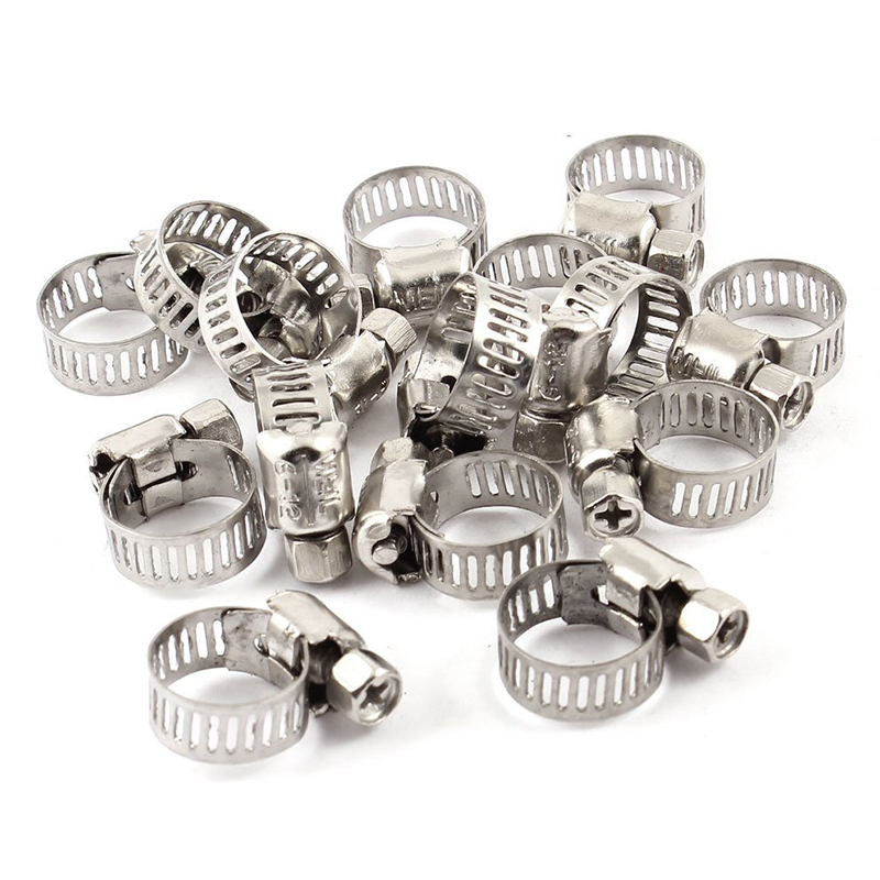 SHGO HOT-15 Pcs Stainless Steel 6mm To 12mm Hose Pipe Clamps Clips Fastener