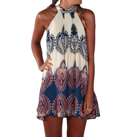 TFGS 2016 New Design Cute Sexy Women Summer Dress Printed Casual Sleeveless Beach Party Short Mini