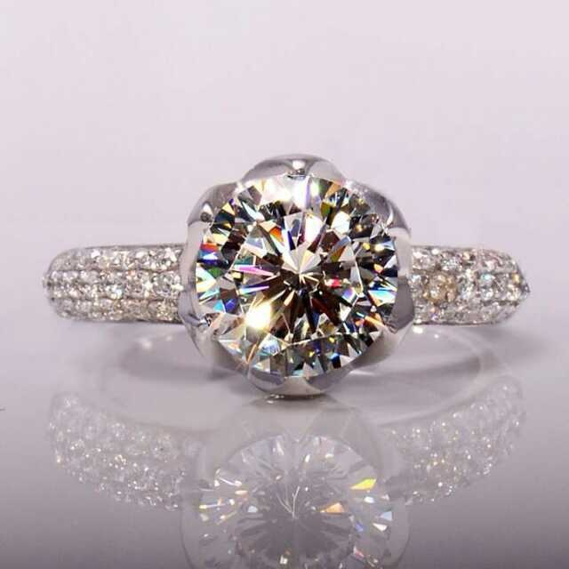 cd8bba3cf fast shipping pt950 Stamp Luxury 4 carat lab diamond rings,Rose gold plated wedding  rings micro pave gold diamond pave ring