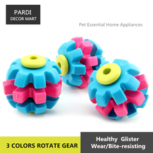 TPR eco-friendly pet toy Rubber 3 colors rotate gear toy bite molar relax pet toy molar toy bite resistance 1pc/lot