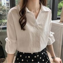 Office Lady Solid Color Blouse Women Lace-up Bow Tie V-Neck Half Sleeves Shirt Women Casual Cotton Blends Tops Plus Size 3XL