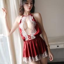 White Red Black Household Nightgown Women Halter Bust Open Backless Nightwear Above Knee Mini Temptation Sleepwear