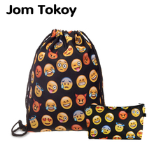 Jom Tokoy 2 PCS 3D Printing Drawstring bag Set Combinationwith Emoji School Girls Black Backpack