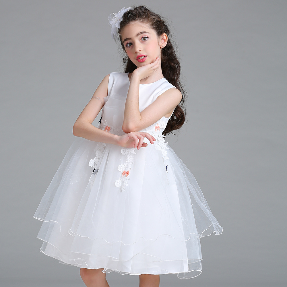 Knee Length Lace Flower Girl Dresses for Wedding A-Line Pretty Mother Daughter Dress Tulle Pageant Dresses for Satin Girls Dress tulle trim layered knee length tee dress
