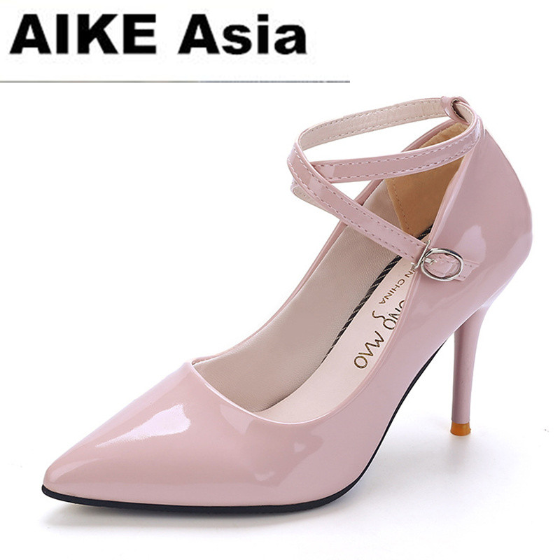 2017 Women Shoes Wedding High Heels Women Sapato Feminino Chaussure Femme Pumps Heel Sexy  Sapatos De Salto Alto Ankle Strap