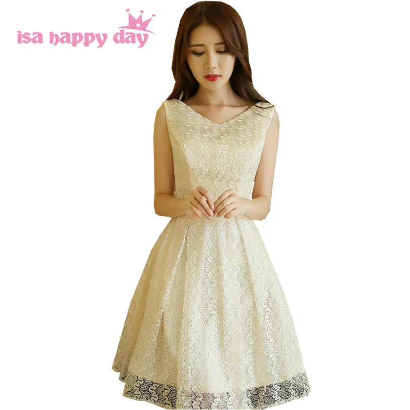 New Arrival 2017 Girl Party Dress Sexy Semi Formal Champagne