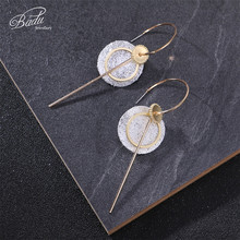 Badu Golden Round Hoop Earrings for Women Silver Glitter Sequins Geometric Korean Style Punk Fashion Jewelry Wholesale