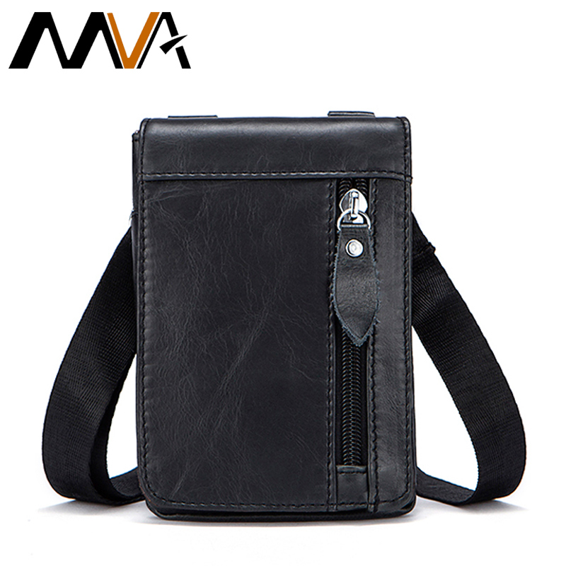 MVA Genuine Leather Waist Packs Fanny Pack Belt Bag Phone Pouch Bags Travel Waist Pack Male Small Waist Bag Leather Pouch 702