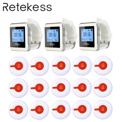 Restaurant Pager Service System Wireless Waiter Calling Paging System 3 Watch Receiver + 15 Call Button Transmitter F3288