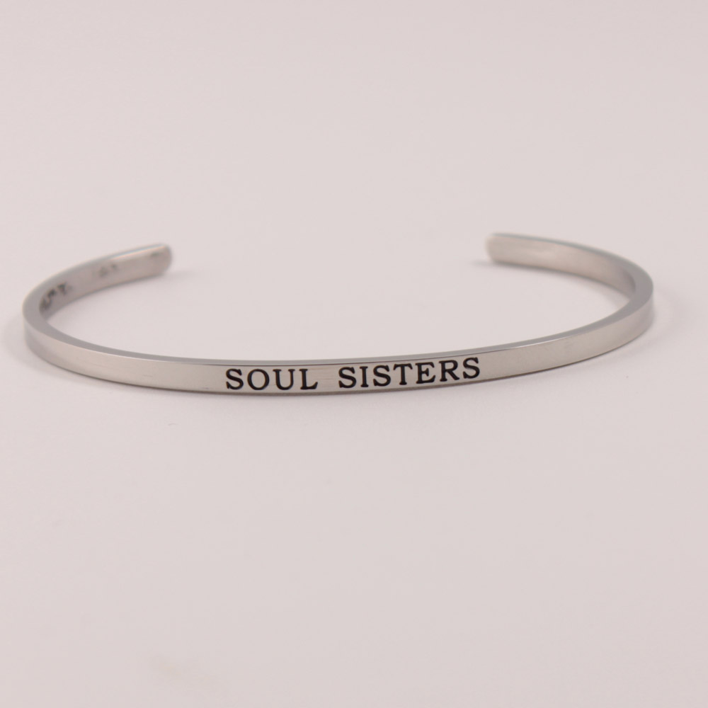 New Silver Stainless Steel Bangle Engraved Positive Inspirational Quote Bangles Cuff Mantra Bracelet Bangles for women Gift in Bangles from Jewelry Accessories