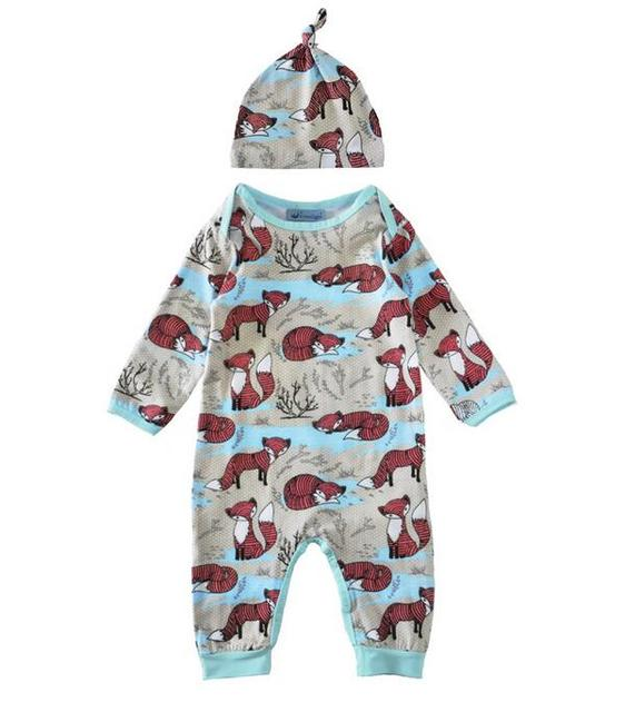 f367af263 Wholesale 4sets/lot girls Jumpsuit kids clothes children clothing Fox long  sleeve boys Romper with