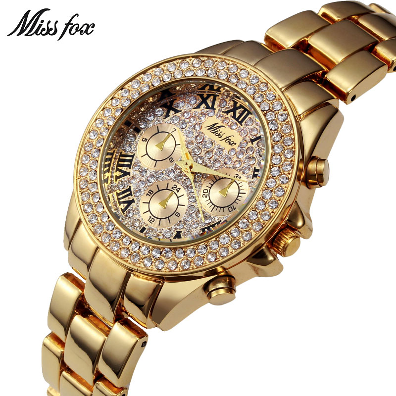 MISSFOX Miss Fox Brand Quartz Watch Women 2018 Casual Gold Women Watches Waterproof Ladies Watch Bracelet Stainless Steel ClockMISSFOX Miss Fox Brand Quartz Watch Women 2018 Casual Gold Women Watches Waterproof Ladies Watch Bracelet Stainless Steel Clock