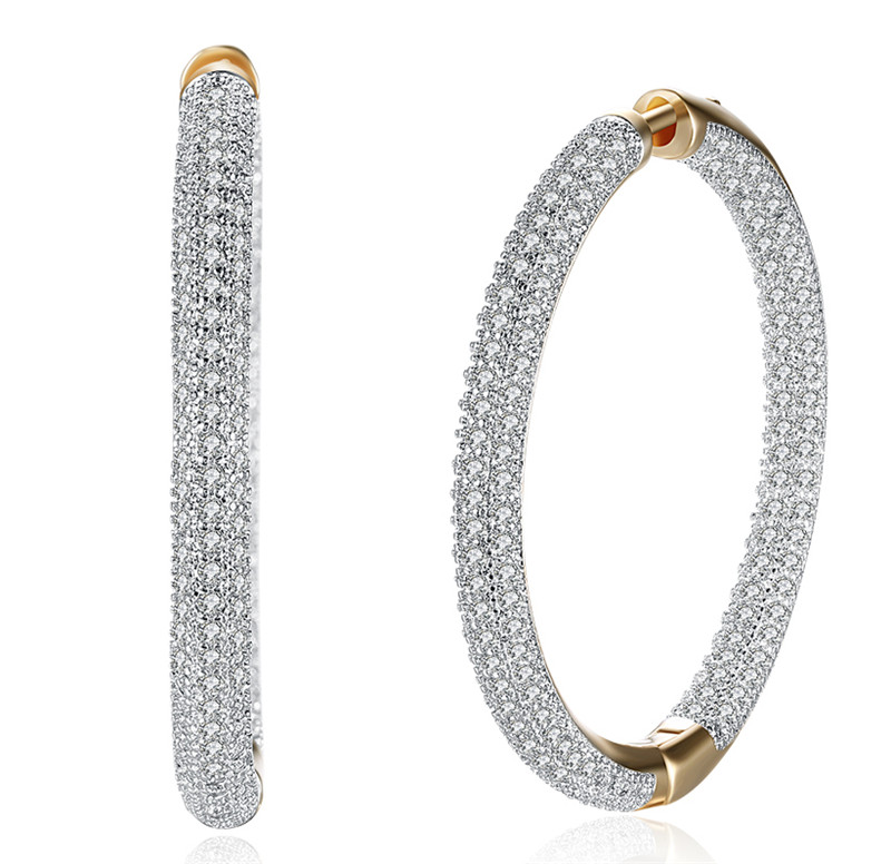 3cceb438540c Luxury Cubic Zirconia Earring For Women Wedding Bridal Gift Zirconia Big  Circle Luxury Bridal Earring