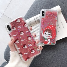 For iPhone XS XR MAX Anti-knock Case X 6 6S 7 8 Plus Cute Cartoon PEKO-chan Liquid quicksand Soft TPU Phone